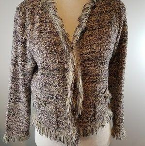 CACHE Metallic Yarn Knit Fringe Cardigan Blazer